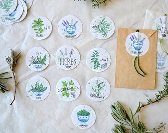 "Sticker Set - Garden Herbs  (3,8cm / 1,5"")"
