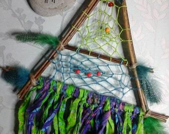 Willow dreamcatcher,triangle dreamcatcher,native american,boho decor,sacred space,witchcraft,wanderlust,dream catcher,batik,blue and green