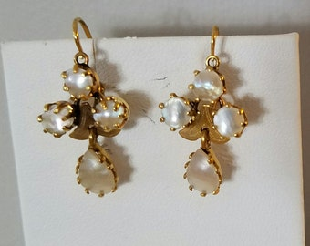 Vintage Mother of Pearl Round and Teardrop Earrings