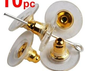 X10 earrings gold metal plug stud stoppers findings post back backs backing