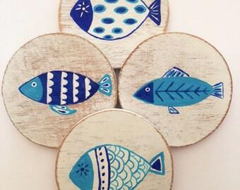 Set of 4 Blue Fish Coasters