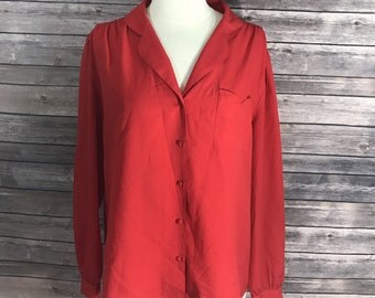 Ann Chabrol Womens Blouse Size 16 Solid Red Button Up Top Vintage 70s