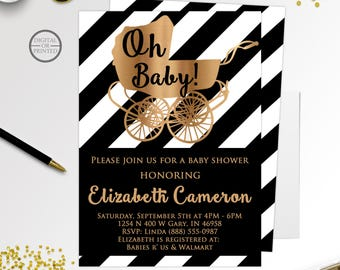 Black and White Baby Shower Invitations, Black and Gold Baby Shower Invitations, Classy Baby Shower Invitations, Baby Carriage Baby Shower