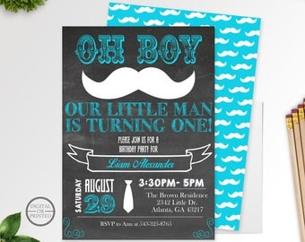 Little Man Birthday Invitations, Mustache Birthday Invitations, Mustache 1st Birthday, Mustache Bash, Mustache Invite, Chalkboard, Printable