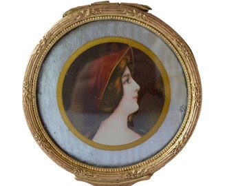 French Antique Dore Brass Jewelry Trinket Casket Box - Woman Miniature Portrait - Art Nouveau Jewel Casket