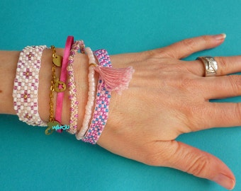Multi row pastel bracelet
