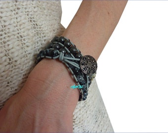 Wrap bracelet, leather, gemstone beads: Dalmatian jasper, hematite, snowflake obsidian beads.