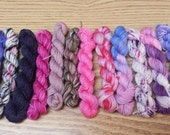Pink and Purple remix, Mini Skein Set, Sock yarn Minis, 12 mini skeins, 5 Grams each, 25 yards each- Ready to Ship