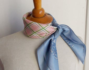 Vintage scarf, blue and pink headscarf, vintage kerchief, pale blue bandana, made in Japan, pastel scarf, flowered scarf, mad men