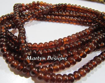 Top Quality Hessonite Garnet 4-5mm Size Beads , Smooth Rondelle Shape Hessonite Beads , Length 8 inch , Unique Gemstone Beads- Jewelry Beads