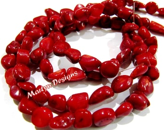 1 Strand of Red Coral Tumbled Beads , Bright Red Coral Beads , 9 to 14mm Size Nugget Shape Beads, Length 17 inch long, Free Form Coral Beads