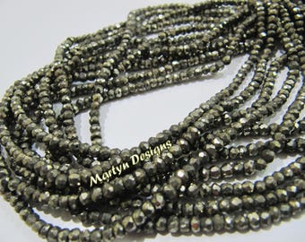 AAA Quality Natural Pyrite Beads , Rondelle Faceted 3-4mm size Pyrite Beads , Strand 13-14 inch long , Israel Cut Pyrite Gemstone Beads