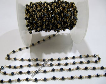 Mystic Black Spinel Wire Wrapped Beaded Chain , 3-4 mm Size Rondelle Faceted Beads Chain , Hydro Quartz Beaded Rosary , Sold in per 3 FEET