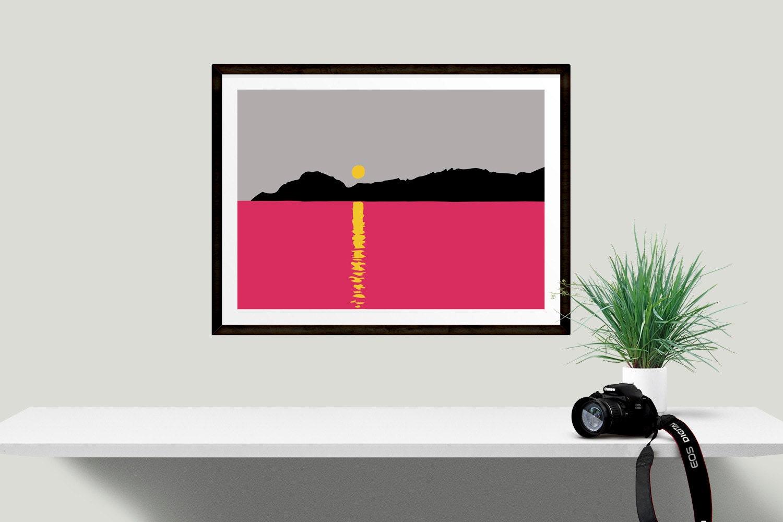 Bright pink sunset graphic wall art minimal art wall decor for Minimal art wall