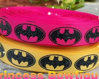 Batman ribbon, pink batman ribbon, batman glitter ribbon, batman , crafts, ribbon, embellishments,  batman ribbons