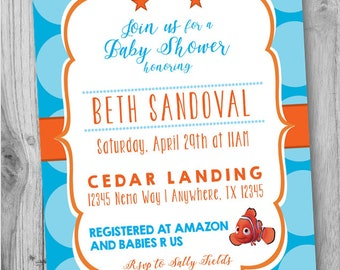 Nemo Invitation, Nemo Baby Shower Invitation, Nemo Birthday, Nemo Party
