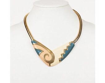 Aztec-Motif Enamel Bib Necklace