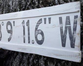 Personalized Latitude Longitude Sign/Custom Longitude Latitude Wood Sign/Family GPS Coordinates Sign/ Wood Coordinates Sign/ Gray Latitude