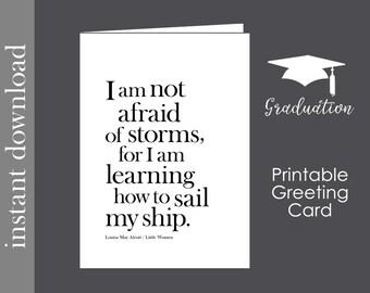 Graduation Printable, Graduation Card, printable card, Alcott quote, sail my ship, inspirational card, encouragement, back to school college