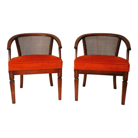 Mid century modern wood chair pair vintage 60s upholstered for Designer chairs from the 60s