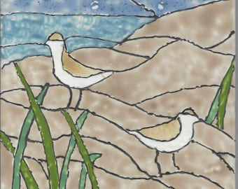 Sandpiper #201 Hand Painted Kiln Fired Decorative Ceramic Wall Art Tile 6 x 6