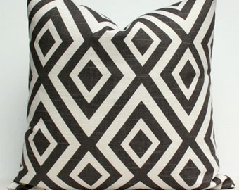Double Diamond Pillow Cover - Dark Charcoal Gray and Creamy White