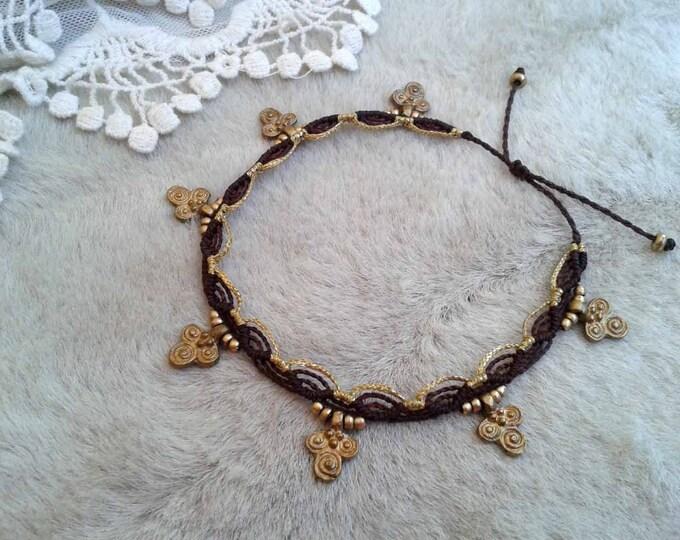 Tribal brass anklet, macrame anklet-bracelet, gipsy anklet bracelet, brass & metallic thread, nickel free, water resistant