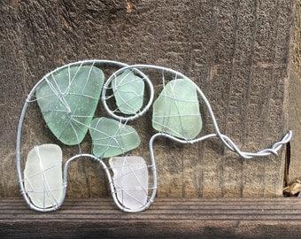 Sea Glass Elephant Ornament/ Christmas ornament/ Unique ornament