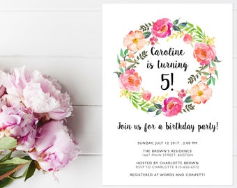 Floral birthday invitation Toddler birthday invitations Printable birthday invite Instant Download birthday invitation Shabby chic Custom