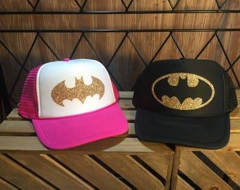 BATMAN/galaxy logo/glitter trucker hat