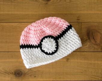 Crocheted Pokeball Hat-- Newborn to 3 Months-- Pink, Blue