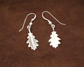 "Oak Leaf Earrings - Sterling Silver "" on French Wires"" -  Item Code: OLE"