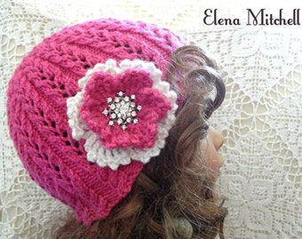 Girls Hat Knitted Hat Toddler Beanie Crochet Beanie Flower Hat Kids Children Hat Toddler Girl