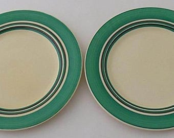 Two Clarice Cliff Bizarre Plates With Banded Design