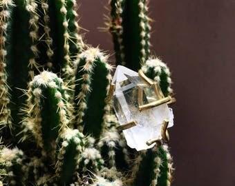 Crystal Quartz Brass Ring