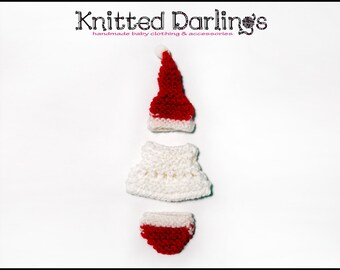 Xmas Elf baby Clothing 3 piece set by Knitted Darlings #1