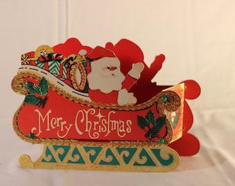 Vintage Santa Cardboard Table Decoration