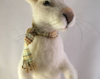 Needle Felted Snow Hare