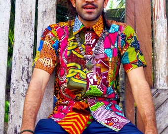 Colour Me Crazy // Men's Shirt // Recycled Patchwork // Festival Shirt // Summer Shirt // Colourful Shirt // Hawaiian shirt // Bright top