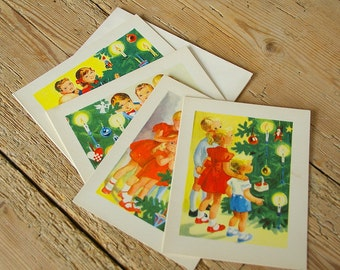 Vintage Christmas cards blank unused with envelopes.New old stock.Christmas stationary 50s.Mid Century decor.Christmas cards children tree