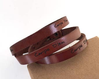 engraved leather bracelet with carpe diem