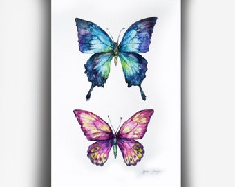 Butterflies Original Watercolor Painting, Whimsical Insect Art, Butterfly Illustration, Unique Butterfly Art, Modern Wall Art, Fine Art
