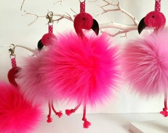 Flamingo, Faux fur pom pom, Flamingo bag hanger, Pink pom pom, Flamingo lover gift Bag charm, Purse charm,  Pretty flamingo keyring mum gift