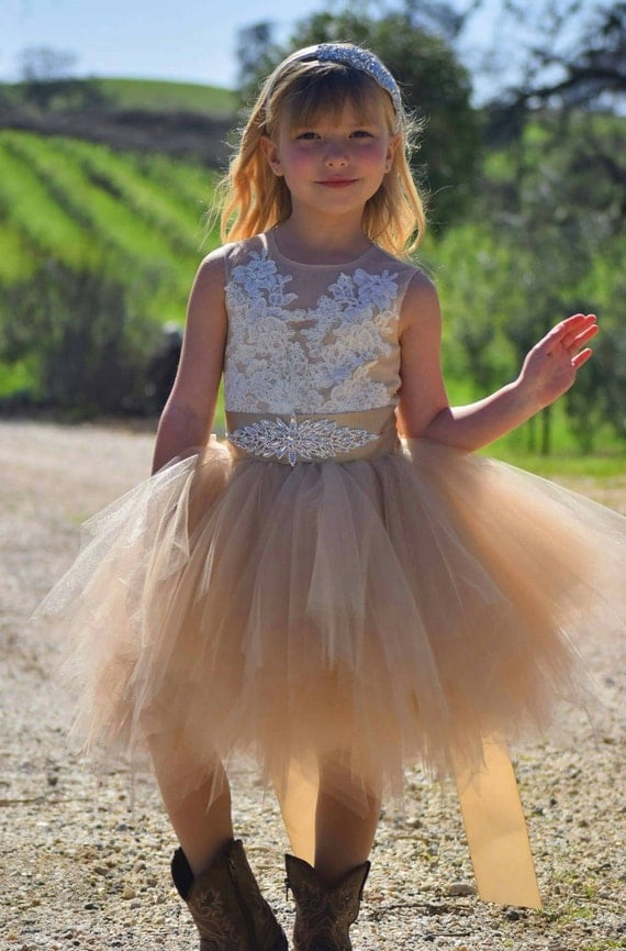 "Stunning champagne tan tutu flowergirl dress ""Flora"" with above knee lenght tutu skirt, French lace, rhinestone sash"