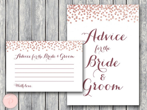 Rose Gold Advice For The Bride And Groom Card & Sign