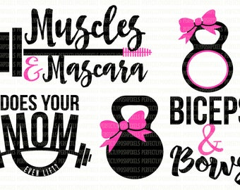 Muscles & Mascara SVG File Does Your Mom Even Lift? Digital File DXF EPS Circuit Design Space Silhouette Studio Stencil Scrapbooking Clipart