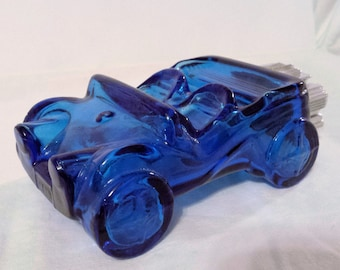 Vintage 70s Avon Dune Buggy, Blue glass, Silver plastic engine assembly, Empty