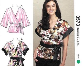 Kwik Sew 3573 Misses Wrap tops uncut sewing pattern sizes XS-XL