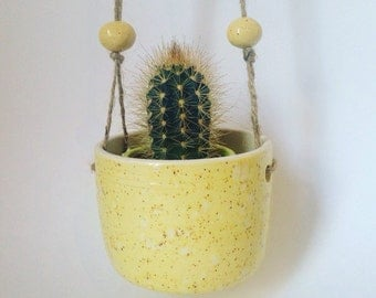 Handmade ceramic hanging planter  / yellow speckle glaze / pottery / gift for her / pottery /wheel thrown / with beads