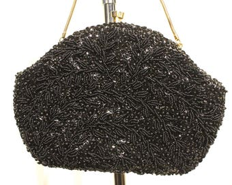 Vintage Hand Beaded in the Crown Colony of Hong Kong Small Black Evening Bag/Purse with Gold Chain